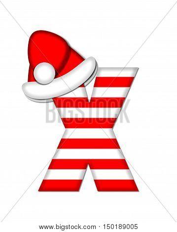 Alphabet Christmas Candy Cane X