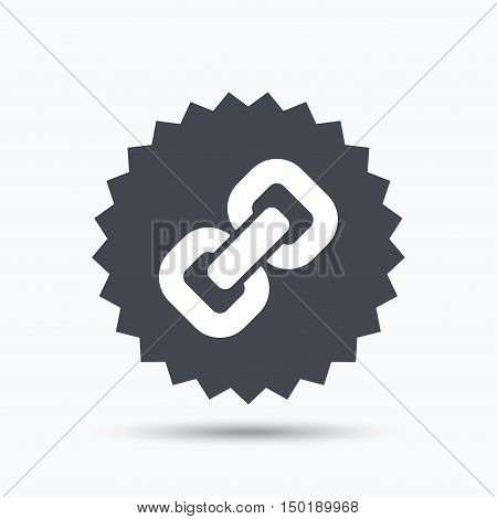 Chain icon. Internet web hyperlink symbol. Gray star button with flat web icon. Vector