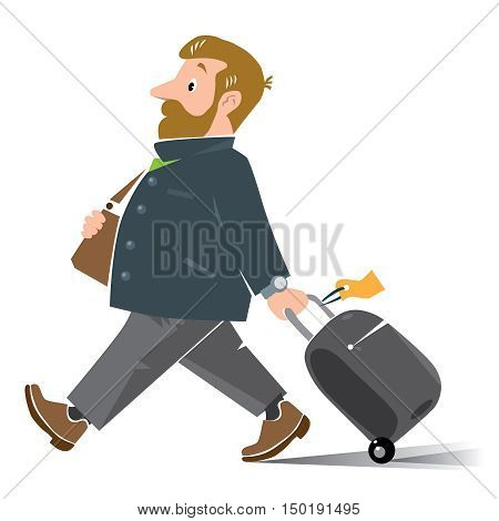 Vector illustration of funny fast paced redhead man passenger with suitcase. Cartoon