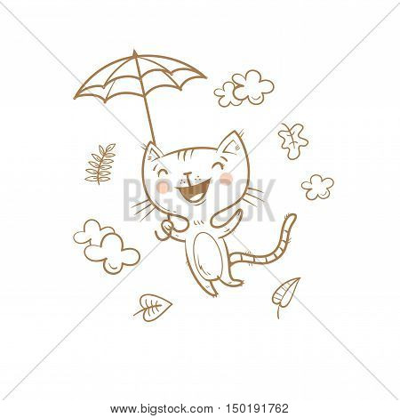 Cute cartoon cat under an umbrella. Flying kitten. Autumn season. Windy weather and falling leaves. Funny animal. Vector contour  image no fill. Children's illustration.