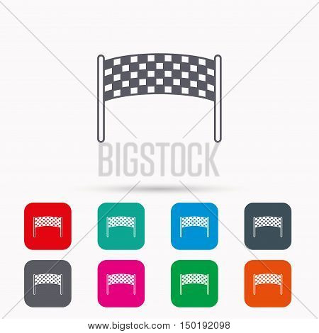 Finishing checkpoint icon. Marathon banner sign. Linear icons in squares on white background. Flat web symbols. Vector