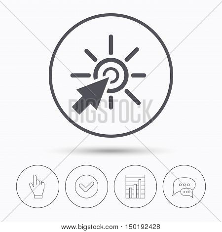 Click icon. Computer mouse cursor symbol. Chat speech bubbles. Check tick, report chart and hand click. Linear icons. Vector