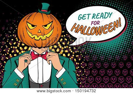 Get Ready For Halloween! A Man In A Suit With Pumpkin Head And  Smile Corrects His Bow Tie. Vector I