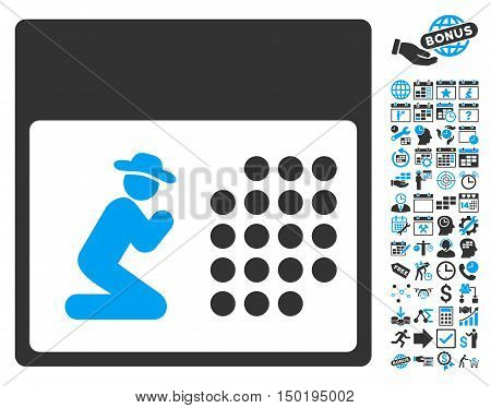 Pray Calendar pictograph with bonus calendar and time management pictogram. Vector illustration style is flat iconic bicolor symbols, blue and gray colors, white background. poster