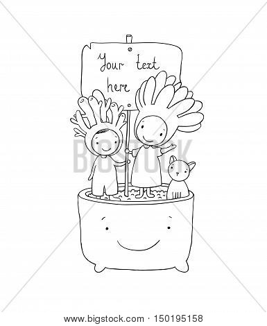 Two fairies succulent, cat and pot. Hand drawing isolated objects on white background. Vector illustration.