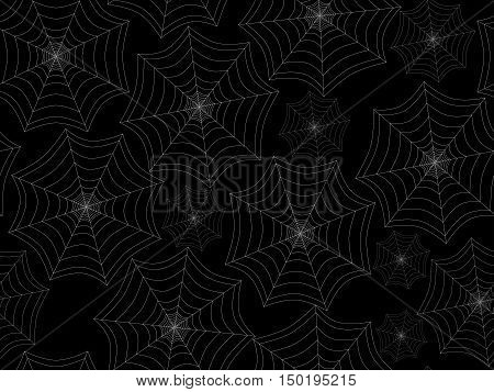 Seamless pattern with cobwebs. White spider web on a black background. Vector illustration.