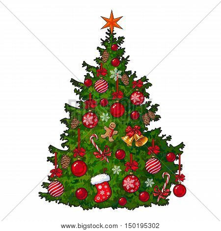 Beautifully decorated Christmas tree, cartoon vector illustration isolated on white background. Colorful Christmas tree decorated with balls, garlands, bells, snowflakes, candy canes and ginger men