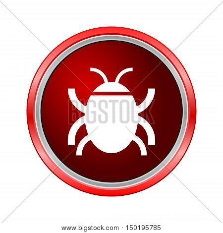 Software bug or program bug icon, Internet button on white background