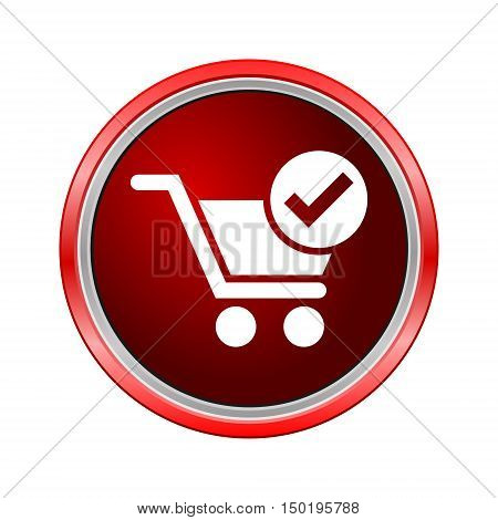 Flat checkout icon, Internet button on white background