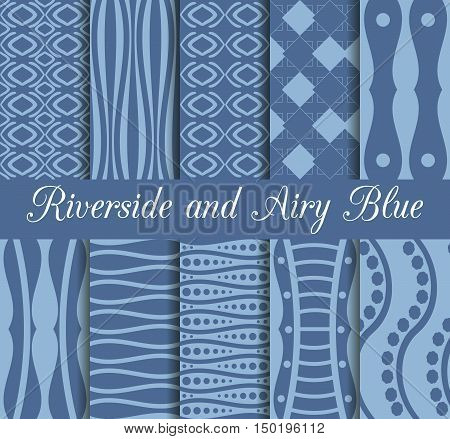 Set Of Geometric Seamless Patterns. Riverside And Airy Blue Trend Color. Collection Of 10 Seamless P