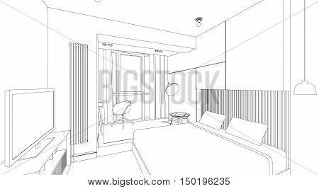 Line sketch of the interior bedroom. Vector thin illustration.