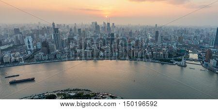 Shanghai China - October 26 2013: Shanghai panoramic cityscape sunset aerial view China.