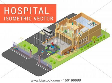 Isometric vector hospital with fountain, ambulance, people, stretcher, mri scanner, wheelchair, doctors, patients. Emergency paramedic center with exterior and interior isometric illustration.