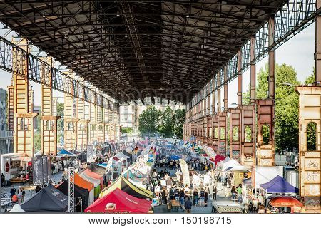 TURIN ITALY -JULY 01 2016: view of the Street Food parade in Parco Dora park Turin Italy