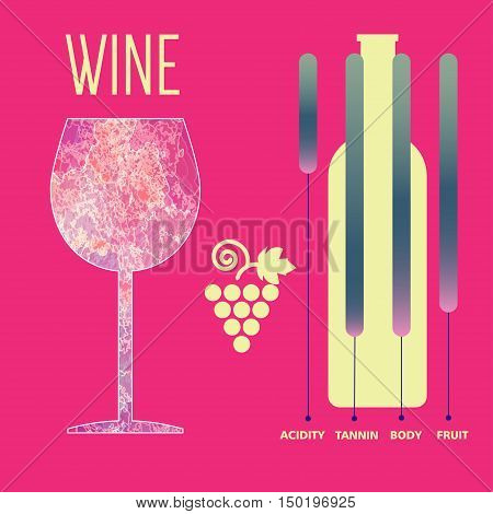 Wine tasting card infographic, yellow bottle over red background with grape sign and a purple glass. Digital vector image.