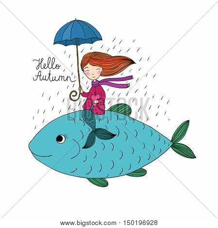 Beautiful little mermaid under an umbrella floating in the big fish. Hand drawing isolated objects on white background. Vector illustration. Hello, Autumn
