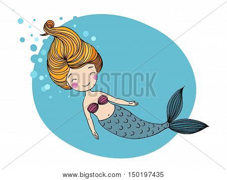 Beautiful little mermaid. Siren. Sea theme. Hand drawn vector illustration