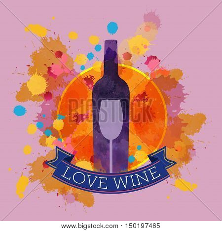 Wine tasting card with colors, a purple bottle and glass, blue ribbon love wine. Digital vector image.