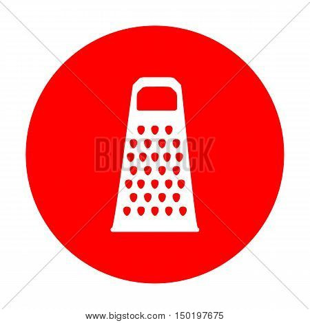 Cheese Grater Sign. White Icon On Red Circle.