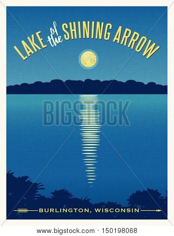 Moon shining reflection on calm lake. Travel poster retro design