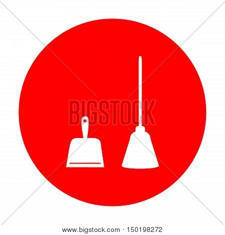 Dustpan Vector Sign. Scoop For Cleaning Garbage Housework Dustpan Equipment. White Icon On Red Circl