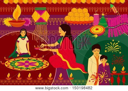 vector illustration of Indian family celebrating Happy Diwali festival background kitsch art India poster