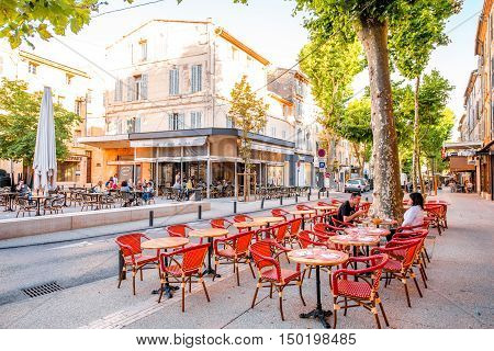 Salon-de-Provence, France - June 17, 2016: View on the central street with cafes and bars in Salon-de-Provence