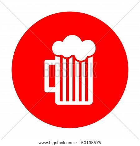 Glass Of Beer Sign. White Icon On Red Circle.