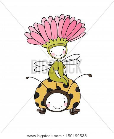 flower fairy and a ladybug. cute Insect. Hand drawing isolated objects on white background. Vector illustration.