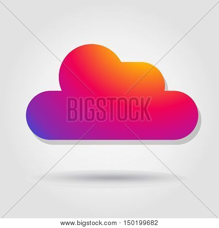 Cloud. Cloud icon. Icon cloud. Instagram new color 2016 cloud. Cloud rainbow color. Instagram cloud. Cloud sign. Cloud tag. Cloud button. Cloud weather. Cloud web. Cloud print. Cloud on gray background with shadow. Vector illustration. Cloud symbol. Cloud