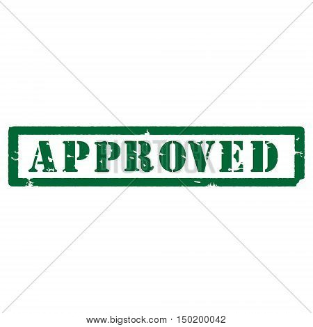 Green rubber stamp vector approved rubber stamp. Approved sign