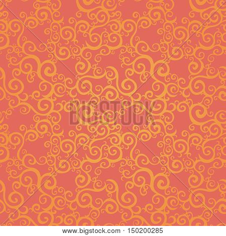 Vector seamless pattern with swirls motifs. Bright scroll work background. It can be used for wallpaper pattern fills web page background surface textures.