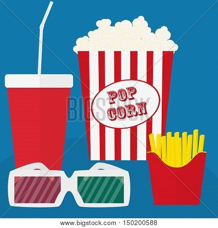 Spilled popcorn on a blue background cinema movies and entertainment concept soda water in glass
