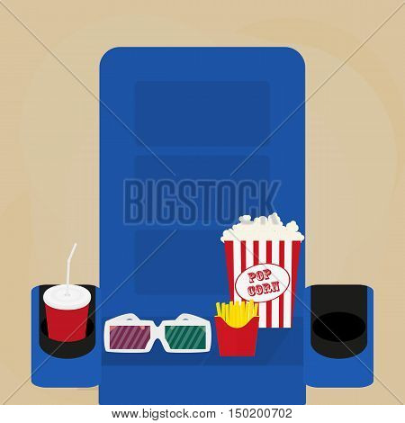 Spilled popcorn on a brow background cinema movies and entertainment concept soda water in glass