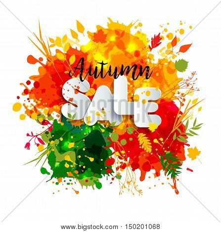 Text Sale In Paper Style On Multicolor Blots Background With Black Calligraphic Autumn Text.