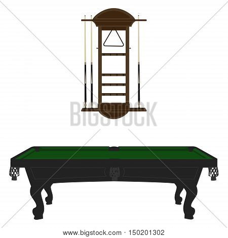 Vector illustration retro vintage pool table with green cloth and cue wall rack.