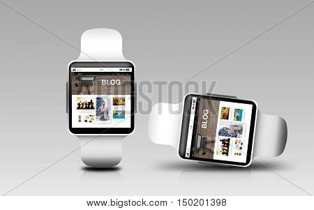modern technology, internet, object, responsive design and blogging concept - smart watches with blog web page on screen over gray background