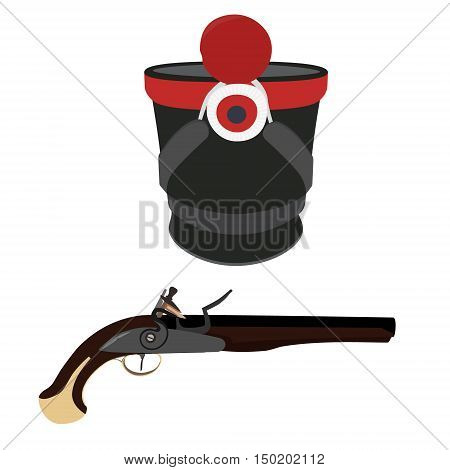 Vector illustration military hat and vintage musket gun. Musket or flintlock gun. Infantry shako