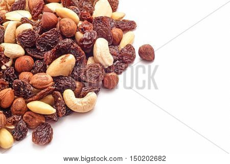 dry nuts and raisins mix studio isolated on white background