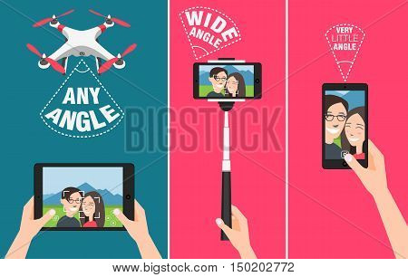 Couple making selfie with drone, selfie stick and using hands showing different angles and abilities of devices