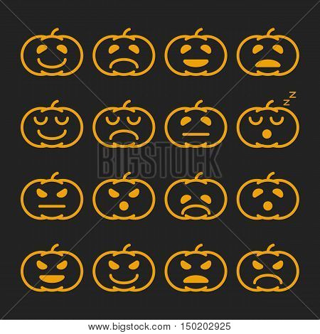 Set of linear orange pumkin emoticons, emoji and avatar. Halloween - 31 october. Outline style isolated vector illustration on black background for wallpaper, web page background, wrapping paper.