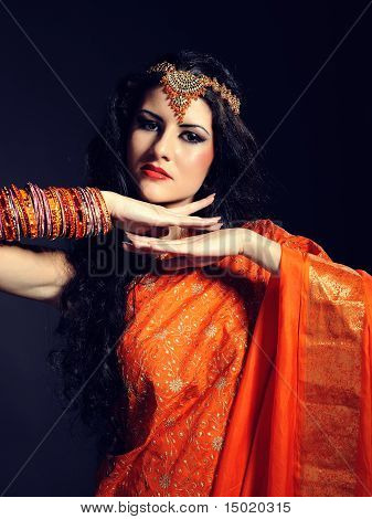Young Beautiful Woman In Indian Traditional Sari Dress