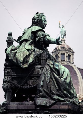 Statue of the Austrian Empress Maria Theresia in Vienna Austria