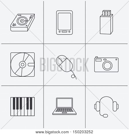 Tablet PC, USB flash and notebook laptop icons. Club music, hard disk and photo camera linear signs. Piano, headphones icons. Linear icons on white background. Vector
