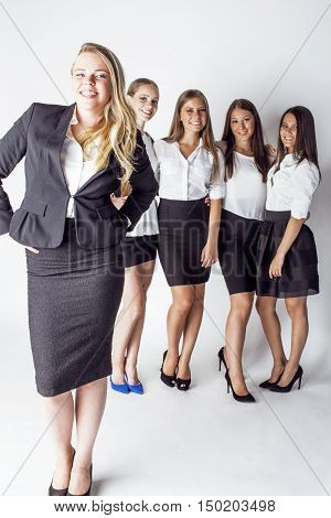 lot of businesswomen happy smiling celebrating success of team victory on work, dress code black and white official, lifestyle people concept close up
