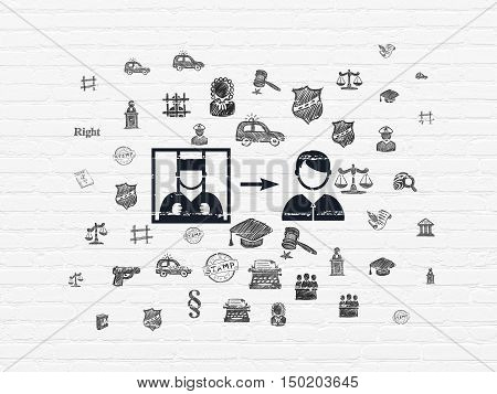 Law concept: Painted black Criminal Freed icon on White Brick wall background with  Hand Drawn Law Icons