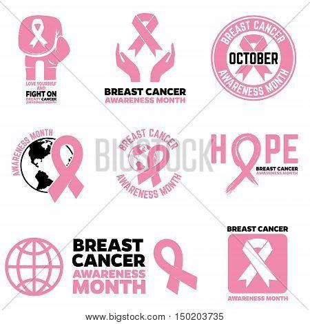 Breast Cancer Awareness month emblems badges and design elements. Pink Ribbon. Vector illustration