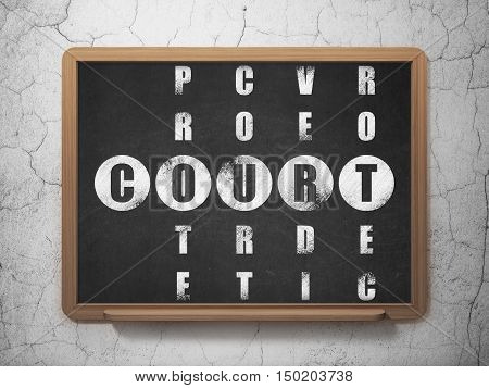 Law concept: Painted White word Court in solving Crossword Puzzle on School board background, 3D Rendering