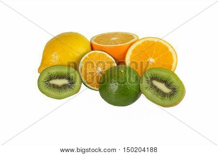 Sweetie oranges lemon and kiwi on a white background isolated