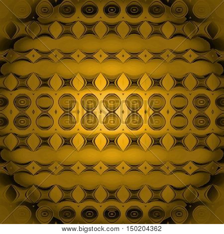 Abstract geometric seamless background, modern and gradient. Regular circles, ellipses and diamond pattern in yellow, gold and brown shades, centered, blurred and shiny.